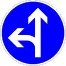 VZ-214-10 Vorgeschriebene Fahrtrichtung geradeaus und links